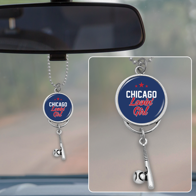 North Side Chicago Lovin' Girl Baseball Rearview Mirror Charm
