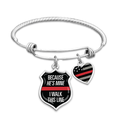 Because He's Mine I Walk This Line Firefighter Charm Bracelet