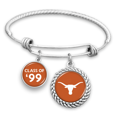 "Customizable Graduation Year ""Class Of"" Texas Longhorns Charm Bracelet"