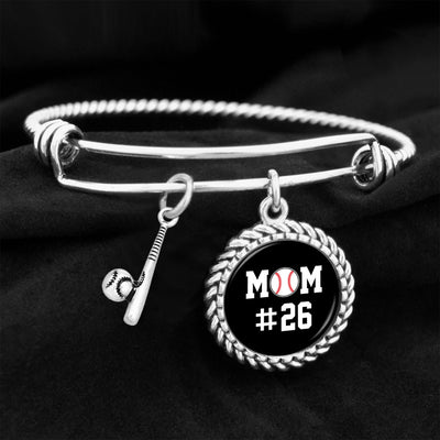 Sports Mom Personalized Number Baseball Charm Bracelet