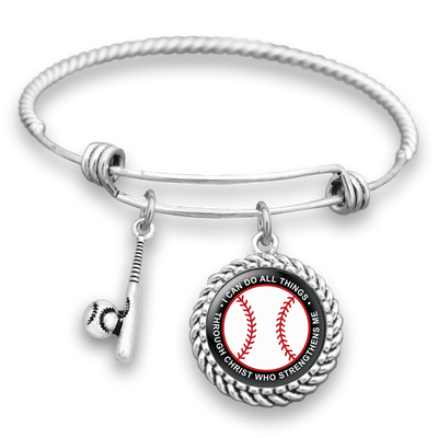 I Can Do All Things Through Christ Baseball Charm Bracelet