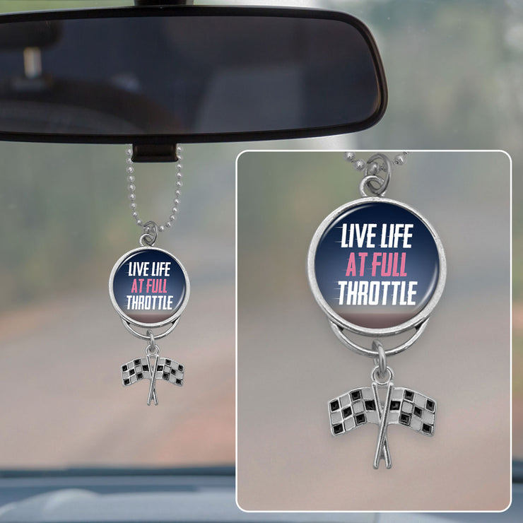 Live Life At Full Throttle Racing Flags Rearview Mirror Charm