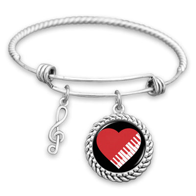 Red Heart Piano Charm Bracelet