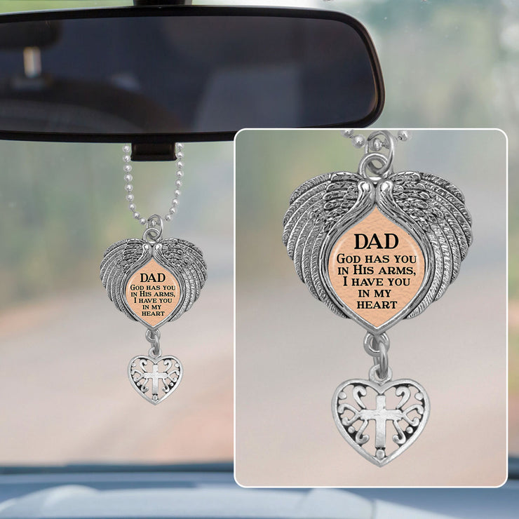 Dad God Has You In His Arms Wings Rearview Mirror Charm
