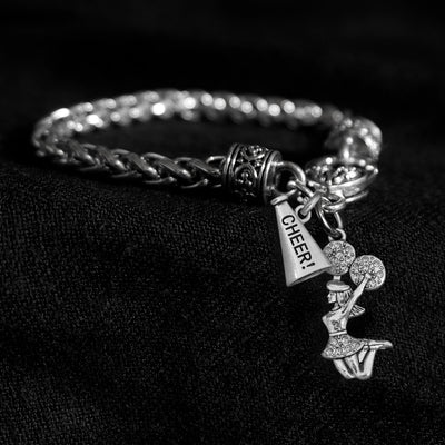 Crystal Cheerleader and Megaphone Silver Braided Clasp Charm Bracelet