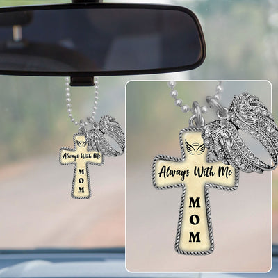 Always With Me Mom Angel Wings Cross Rearview Mirror Charm