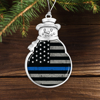 Thin Blue Line Flag Snowman Ornament