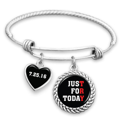 Just For Today Personalized Sobriety Date Charm Bracelet