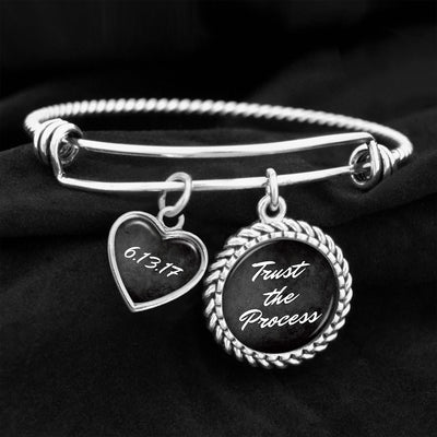 Trust The Process Personalized Sobriety Date Charm Bracelet