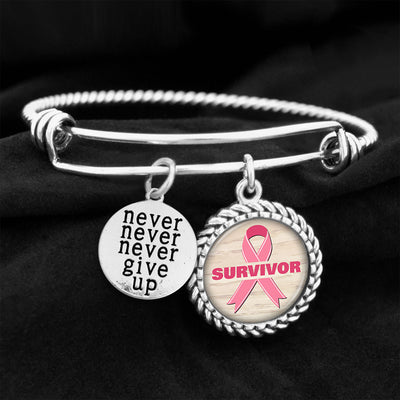 Breast Cancer Never Give Up Survivor Ribbon Charm Bracelet