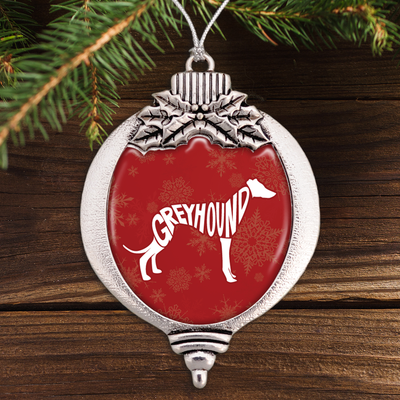 Typographic Greyhound Bulb Ornament