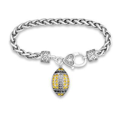 Gold And Black Crystal Football Silver Braided Clasp Charm Bracelet