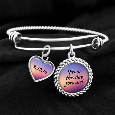 From This Day Forward Personalized Sobriety Date Charm Bracelet