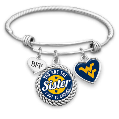 West Virginia Mountaineers Sister I Got To Choose BFF Charm Bracelet