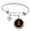 Leukemia or Multiple Sclerosis Awareness Ribbon Hope Charm Bracelet