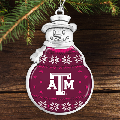 Texas A&M Aggies Holiday Sweater Snowman Ornament