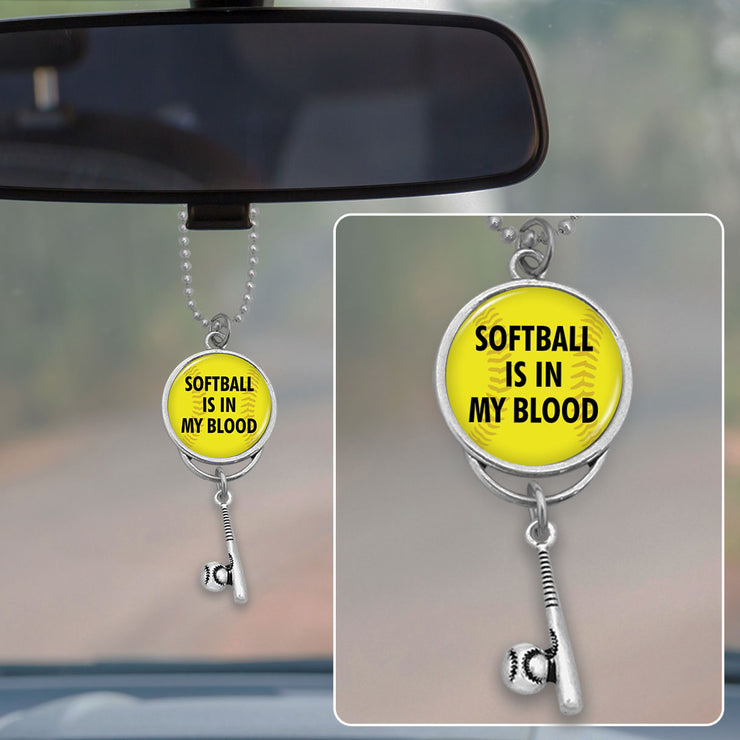 Softball Is In My Blood Rearview Mirror Charm