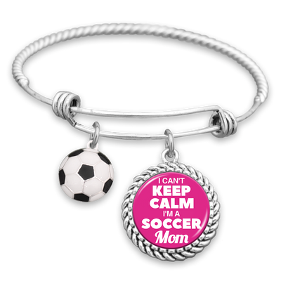 I Can't Keep Calm I'm A Soccer Mom Charm Bracelet