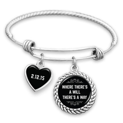 Where There's A Will There's A Way Personalized Sobriety Date Charm Bracelet