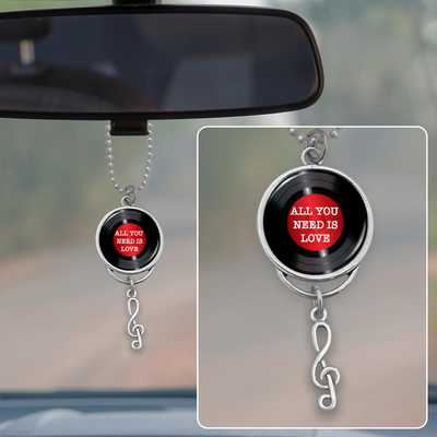 All You Need Is Love Vinyl Record Rearview Mirror Charm