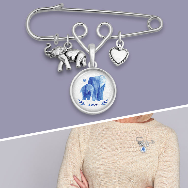 Watercolor Elephants Safety Pin Charm Brooch