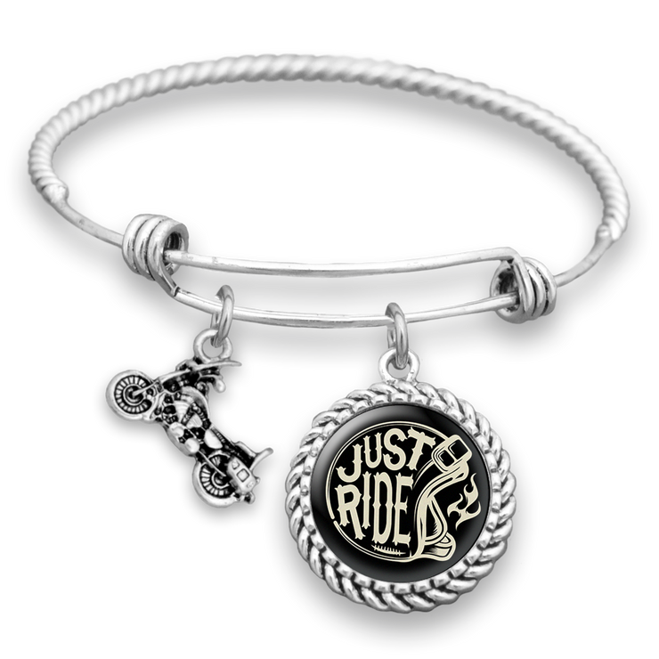 Just Ride Motorcycle Charm Bracelet