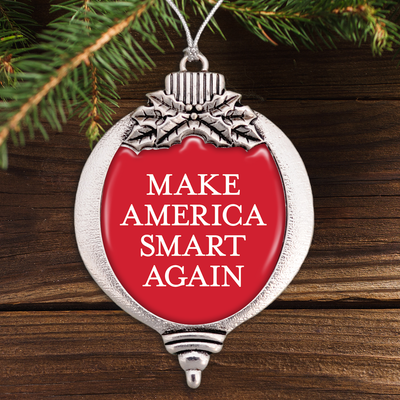 Make America Smart Again Red Bulb Ornament