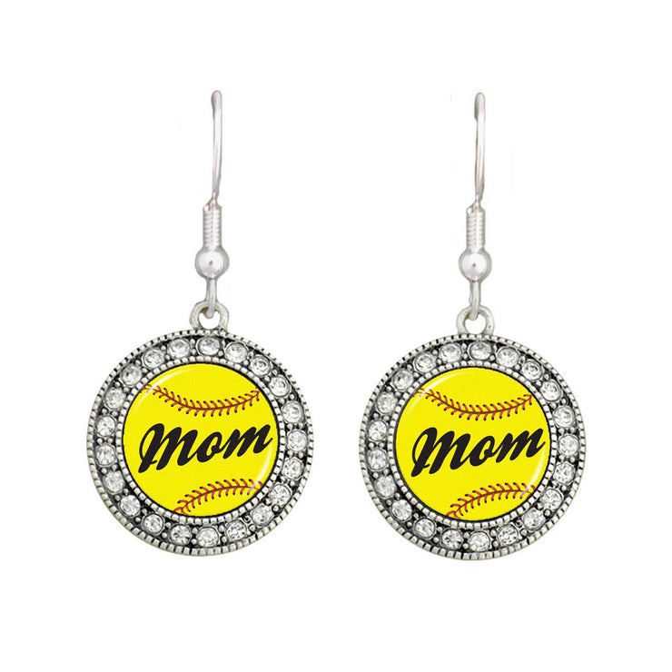 Softball Mom Crystal Circle Earrings