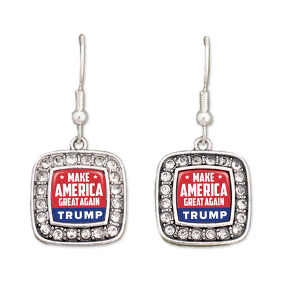 """Make America Great Again"" Trump Crystal Square Earrings"