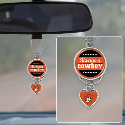 Oklahoma State Always A Cowboy Rearview Mirror Charm