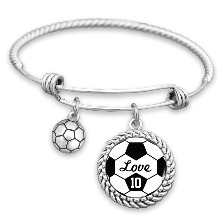 Soccer Love Personalized Number Charm Bracelet