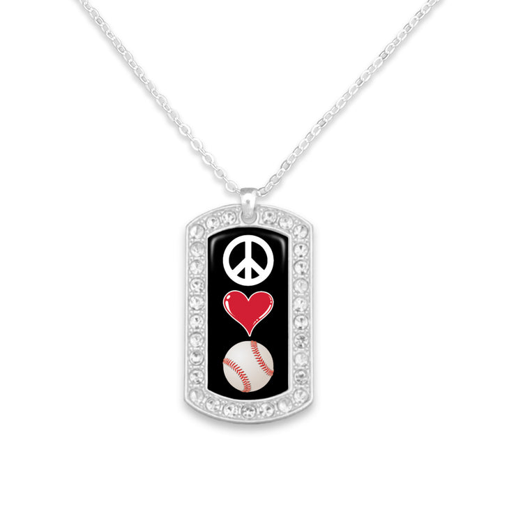 Baseball Peace Love Dogtag Necklace