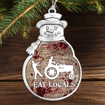 Eat Locals Snowman Ornament