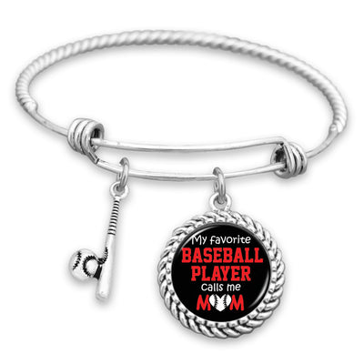 My Favorite Baseball Player Calls Me Mom Charm Bracelet