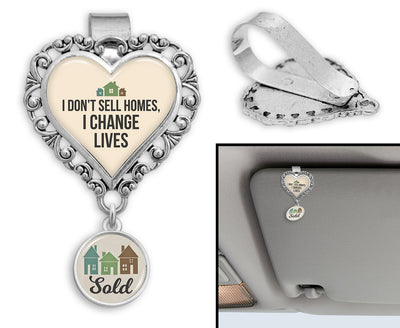I Don't Sell Homes, I Change Lives Heart Auto Visor Clip