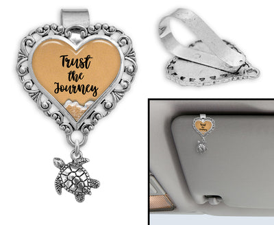 Trust The Journey Sea Turtle Sand Heart Auto Visor Clip