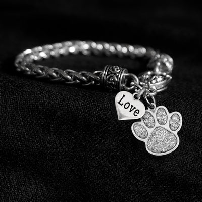 Crystal Paw Print and Love Heart Silver Braided Clasp Charm Bracelet