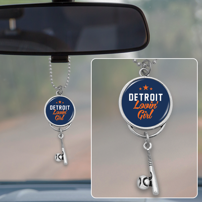 Detroit Lovin' Girl Baseball Rearview Mirror Charm