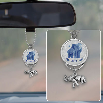 Watercolor Elephant Love Rearview Mirror Charm