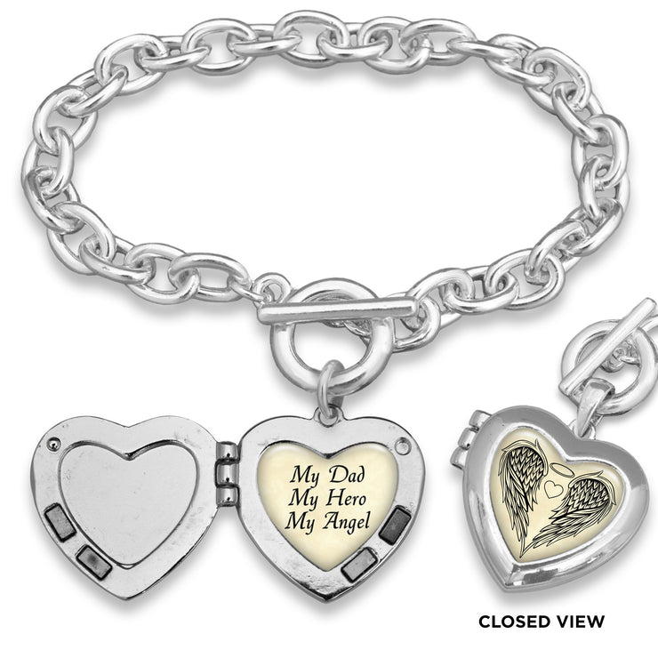 My Dad My Hero My Angel Parchment Wings Heart Locket Toggle Bracelet
