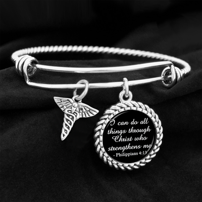 Caduceus I Can Do All Things Through Christ Who Strengthens Me Charm Bracelet