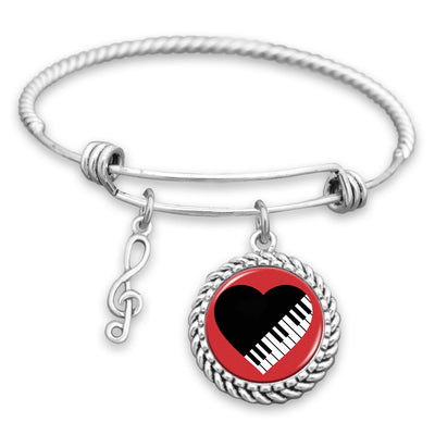 Black Heart Piano Charm Bracelet