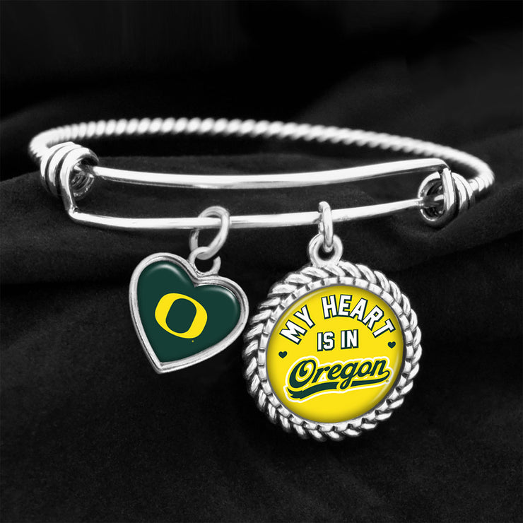 My Heart Is In Oregon Ducks Charm Bracelet