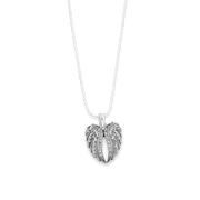 Angel Wings Charm Ball Link Heart Necklace