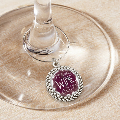 It's Always Wine O'Clock Wine Glass Charm