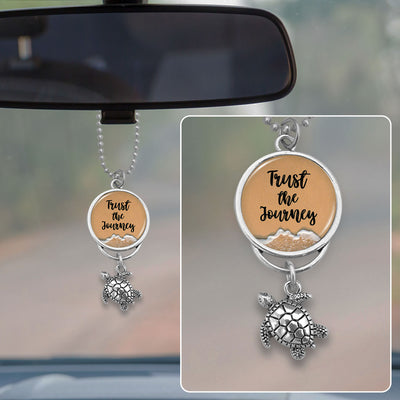 Trust The Journey Sea Turtle Sand Rearview Mirror Charm