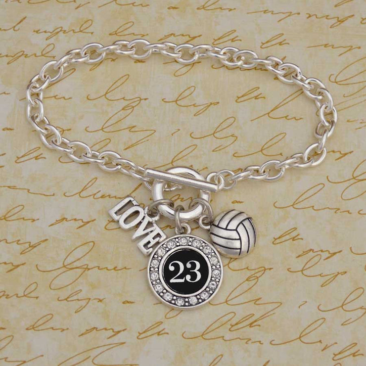 Custom Number Volleyball 3-Charm Bracelet