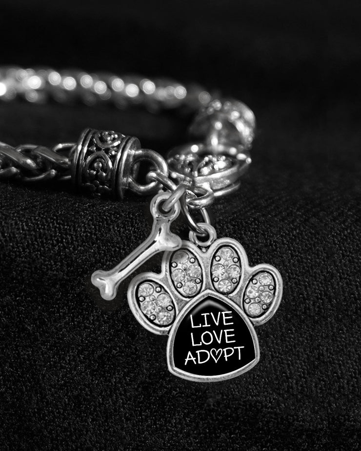 Live Love Adopt Paw Silver Braided Clasp Charm Bracelet