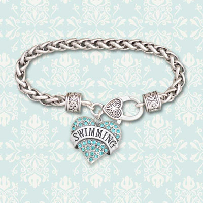 Swimming Heart Charm Clasp Bracelet
