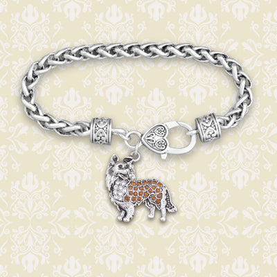 Crystal Collie Silver Braided Clasp Bracelet